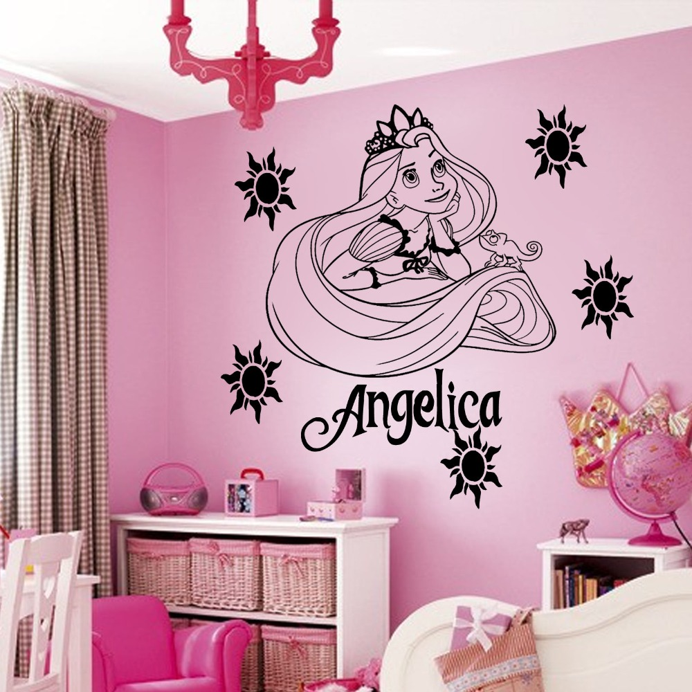 nombre de dibujos animados princesa del arte del vinilo arte de la pared sticker decal