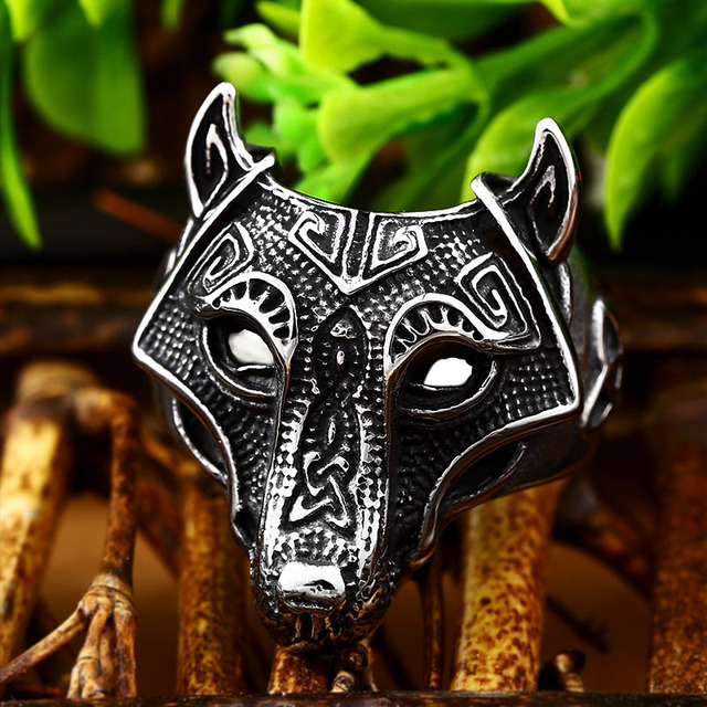 Nordic wolf biker ring