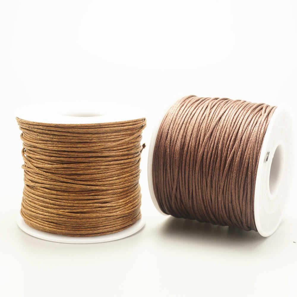 75 m/rolki 1mm woskowany sznurek bawełniany na rzemiosło koralki DIY bransoletka naszyjnik sznurek pleciony nici biżuteria ustalenia Making HK042
