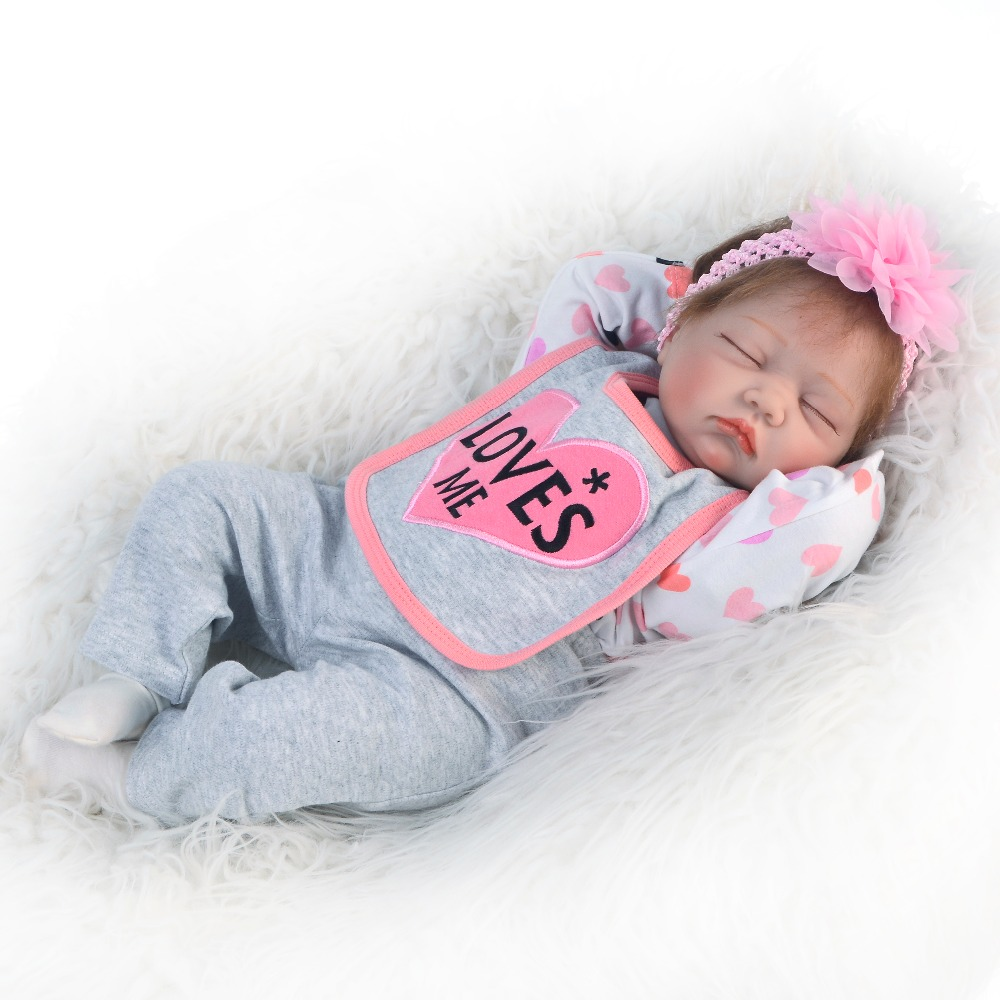 55cm Soft Silicone Reborn Babies Dolls Real Reborn Collectible Doll Lifelike Sleeping Kids Birthday Playmate Kids Toys Baby