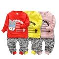 Good quality 2017 Spring Infant Cotton Clothes Sets Zebra T Shirt+Pants 2 Pcs Baby Girls Boys Suits Kids Children Suits