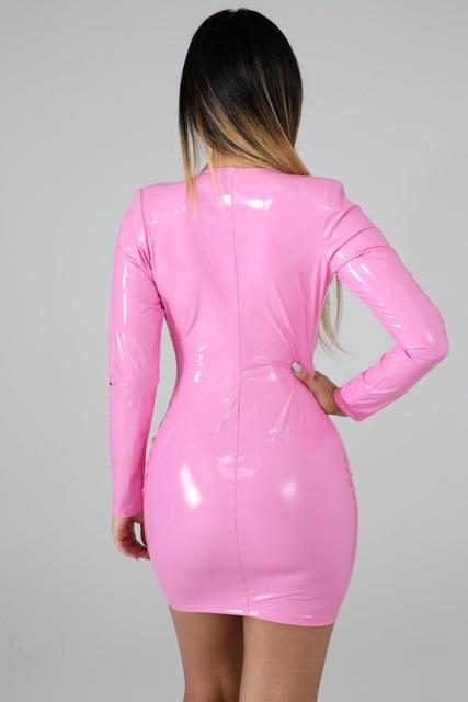 JRRY Women PU Leather Dresses Zippers Faux PU Leather Dress High Elasticity Sheath Dress Deep V Neck Faux Leather Short Dress 6