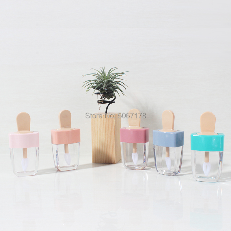 10/30/50pcs Empty DIY Lip Gloss Bottles Pink Green Blue Sweet Ice Cream Shape Cute Lipgloss Lipstick Tube for Girls image