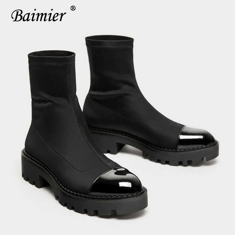 Baimier Black Stretch Fabric Women Sock Boots Round Toe Ankle Boots For Women Brand Design Slip On Women Platform Boots