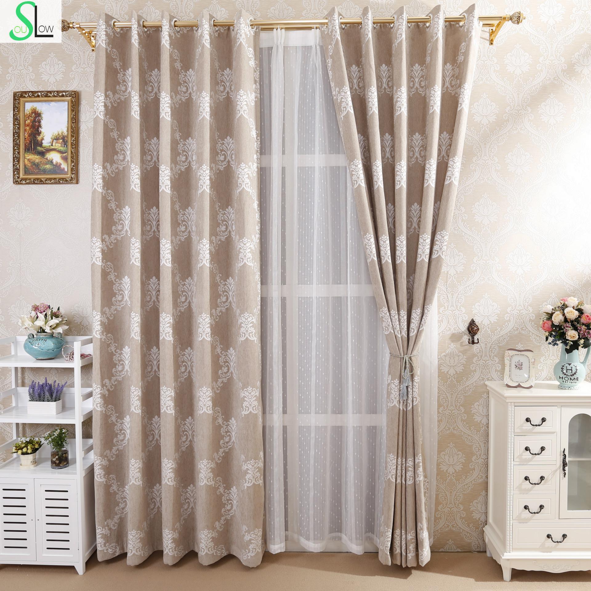 lento alma gris chenille jacquard tela de la cachemira europeo villa sala floral plisado cortinas para
