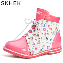 SKHEK Girls Winter Boots Fashion Children's Shoes Girl Boots 2018 Children British Zipper Martin Boots 27-32 Size