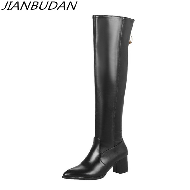 JIANBUDAN Women's Sexy Thigh High Boots Thigh Boots High Quality Pu Leather High Heel Boots Large Size Black Leather Boots 46