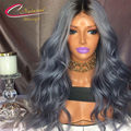 Ombre Grey Human Hair Full Lace Wig Dark Roots 1b Gray Brazilian Virgin Hair Body Wave Ombre Grey Two Tone Lace Front Wigs