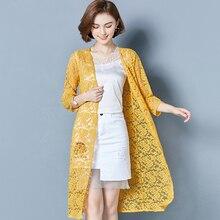 YICIYA Women summer Cover Up beach long jacket lace sexy coat cardigan plus size clothing see through chiffon yellow top 2019