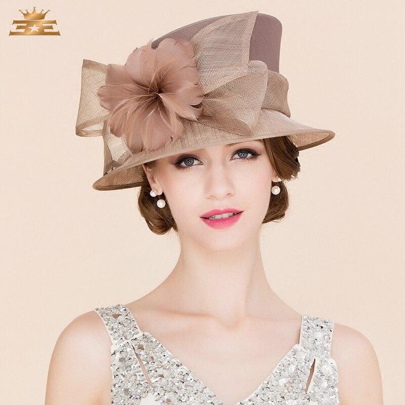 Women Elegant Linen Wedding Hats Wide Brim Women Brown Summer Floral Cap Feather Kentucky Derby Ladies Formal Fedora Cap B-8147 стоимость