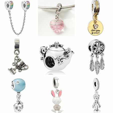 Kolor srebrny Tribal DIY biżuteria czajniczek Dreamcatcher liść święty mikołaj koraliki europejskie Fit Pandora Charm bransoletki naszyjniki Making