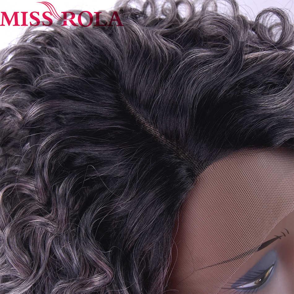 Miss Rola Haar Korte Synthetische Pruiken Kinky Krullend Lace Front Pruiken Voor Zwarte Vrouwen Hittebestendige Ombre 1B/Grijs gratis Verzending