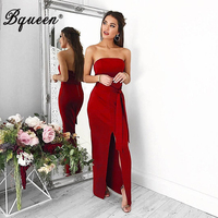 Bqueen 2017 New Elegant Women Autumn Bandage Party Dress Sexy Strapless Floor Length Slash Neck Backless