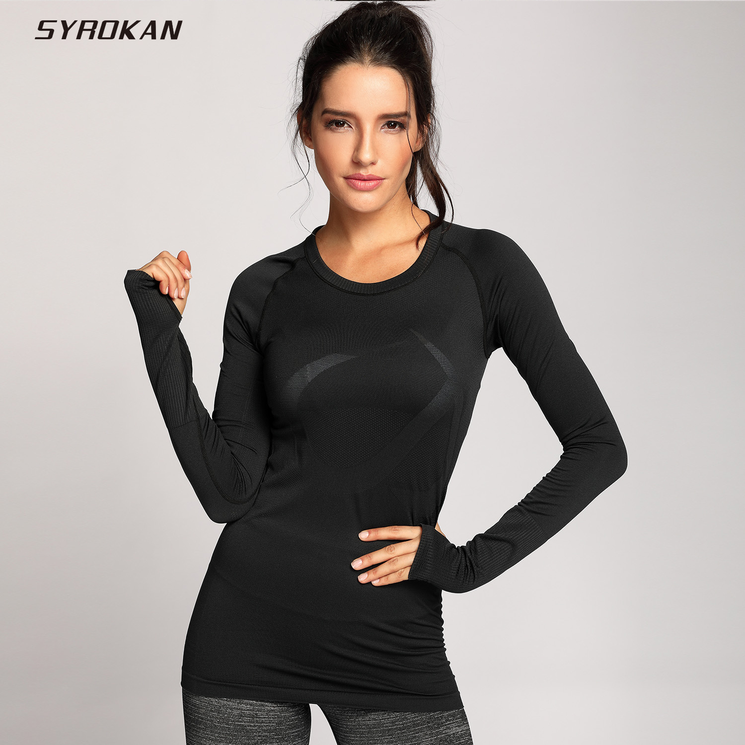 SYROKAN Women's Active Long Sleeve Sports Running Tee Top Seamless Leisure T-shirt