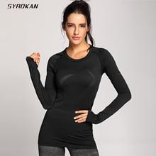 SYROKAN Womens Active Long Sleeve Sports Running Tee Top Seamless Leisure T shirt