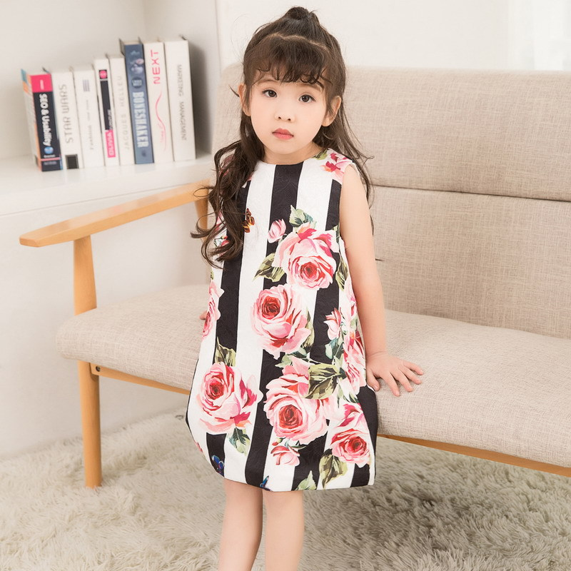 wholesale 2019 new girls dress rose Digital striped print Kids Sleeveless Dress Summer O-necked Dress kid clothes3-8Y Vestidos