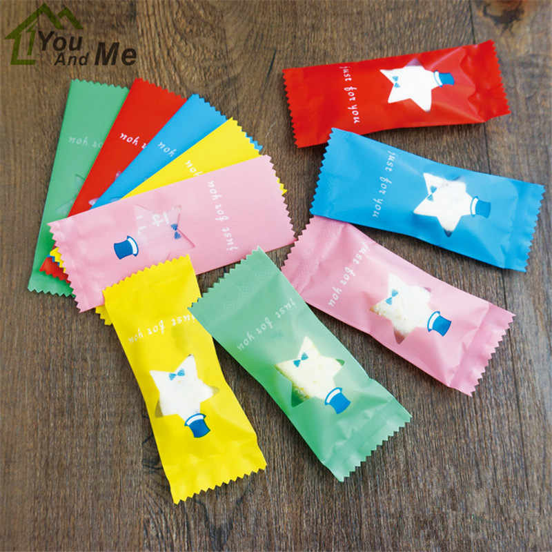 200 Pcs/Lot Handmade DIY Nougat Plastic Package Food Decoration Star Pattern Packing Candy Wrapping Bakery Bags