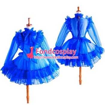 Sissy Maid Blue Organza Lockable Uniform Dress Cosplay Costume Tailor-made[G1366]