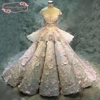 SuperKimJo Robe De Mariee de Calidad Superior Vestidos de Novia de Encaje Hecho A Mano de Lujo 3D Flores Acanalada Balón vestido de Boda Vestidos de Novia
