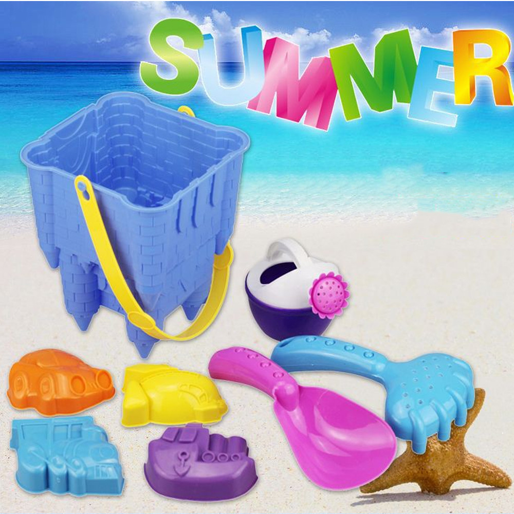 8pcs beach Sand toys Kids Beach Castle Bucket Spade Shovel Rake Water Tools Toys sandbox for children A1