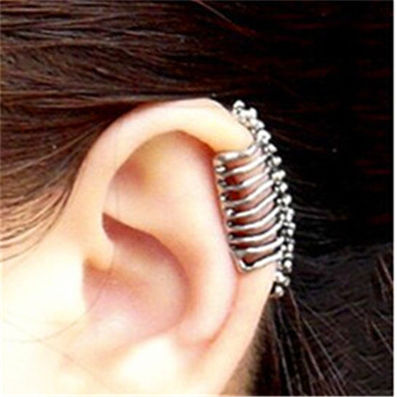 E033 Punk Style Silver Color Bones Clip Earrings Without Piercing Double Sided Clip Earrings No Hole For Women Men Wholesale