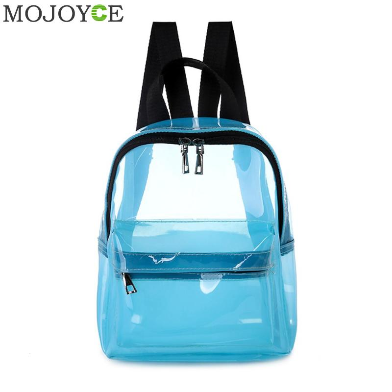 Female Fashion Solid Color Small Clear Transparent Women Backpacks PVC Jelly Mini Teenage Girls Student Schoolbag Shoulder BagsFemale Fashion Solid Color Small Clear Transparent Women Backpacks PVC Jelly Mini Teenage Girls Student Schoolbag Shoulder Bags