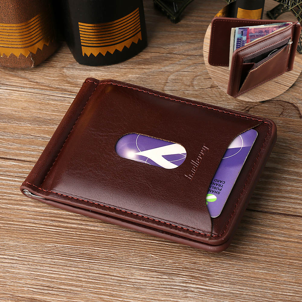 High Quality 1PC Fashion Men Solid Thin Magnet Hasp Bifold Money Clip Leather Wallet ID Credit  Men Purse Brand New