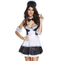 Negro/Blanco Adulto Cosplay Clubwear Sexy French Maid Uniforme de Lujo Trajes de Vestir Para Las Mujeres Traje de Halloween Traje de Carnaval