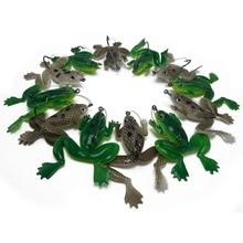 CATCHSIF 12pcs weedless Lifelike Soft Frog Lures with Fishing Rigged Worm Hooks