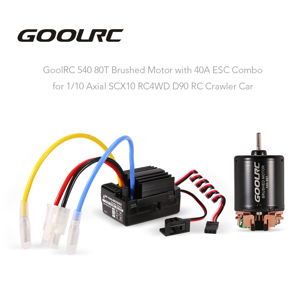 GOOLRC 540 80T Brushed Motor with 40A ESC Combo for 1/10 Axial SCX10 RC4WD D90 RC Crawler Car