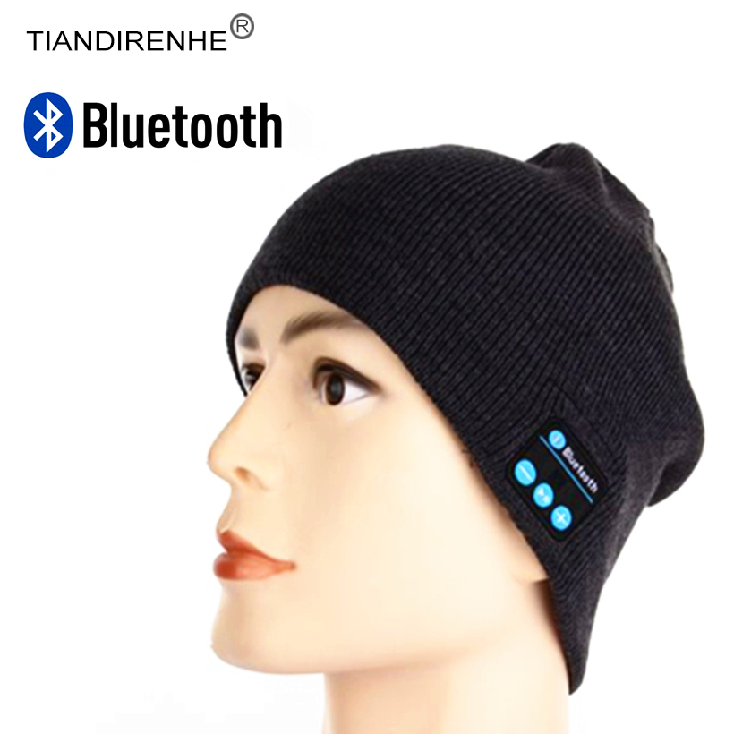 TIANDIRENHE Bluetooth Smart Cap Headset Music Hat Soft Beanie Knitted Cotton Wireless Speaker Sports Headphone Mic for iPhone lady s skullies womail delicate pregnant mothers soft velvet cap maternal prevention wind hat w7