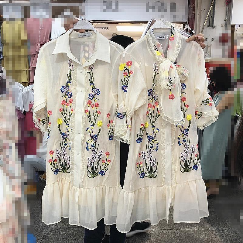 Retro Elegant Summer Womens Bow Tie Embroidery Gauze Sexy Dress Ladies Lotus Leaf Side Short Sleeve Party Dresses Girls Vestidos