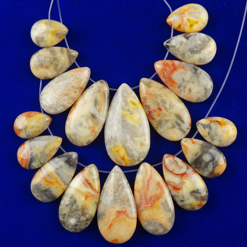2Set(9Pcs/Set) Yellow Crazy Lace Agates Teardrop Pendant Bead (big:37x20x6mm small:17x12x5mm)Free Shipping Fashion Jewelry Dw022