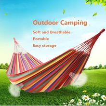 Camping Hammock Practical Tool Outdoor Backpack Canvas Stripe Hang Bed Furniture