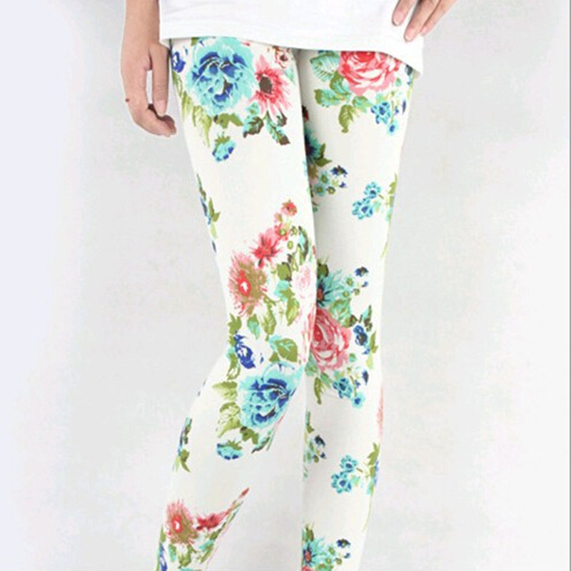 2017 New Top Quality Print Flowers Casual Mid New Arrived Material Trousers Seamless Rose Flower Leggings for Women Pants