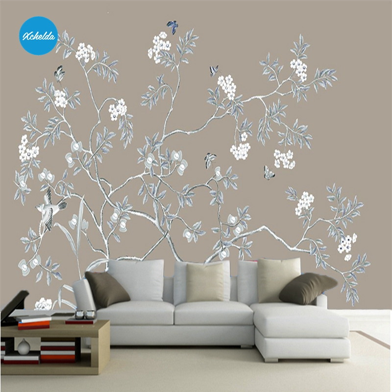XCHELDA Custom 3D Wallpaper Design Light Blue Leaves Brown Bedroom Living Room Wall Murals Papel De Parede Para Quarto customize leaves blue sky and white clouds 3d ceiling murals wallpaper living room bedroom