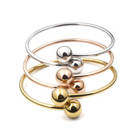 Fashion Titanium Ball Size Smooth Cross Rose Gold Color Love Bracelet Openings With Words Silver Bangle