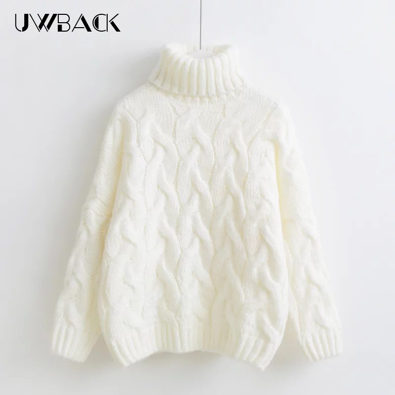 Uwback Turtleneck Knitted Sweater Fashion Women Knitting Cotton Clothes Pullovers Female Batwing Sleeves Winter Sweaters, PB2009