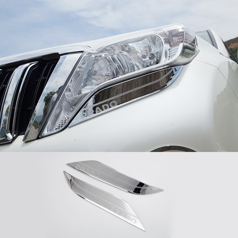ABS Chrome Front Headlight lamp strip Cover Trim For <font><b>Toyota</b></font> <font><b>Land</b></font> <font><b>Cruiser</b></font> <font><b>Prado</b></font> <font><b>FJ150</b></font> 2014 2015 2016 2017 Accessories 2PCS image