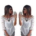 Lady women Summer Vintage Women Blouses Plus Size White Lace Crochet Blouse Beach Kimono Shirt Tropical Tunic Tops Blusas