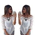 Senhora das mulheres Do Vintage Verão Mulheres Blusas Plus Size Blusa de Renda Branca de Crochê Praia Túnica Tops Blusas Kimono Camisa Tropical