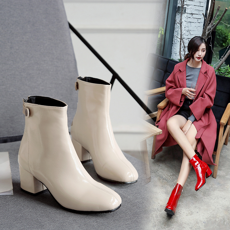 Advanced Hydrological Soft Patent Leather Square Head Fashion Women's Booties Thick With Warm Inside Female Chelsea Boots