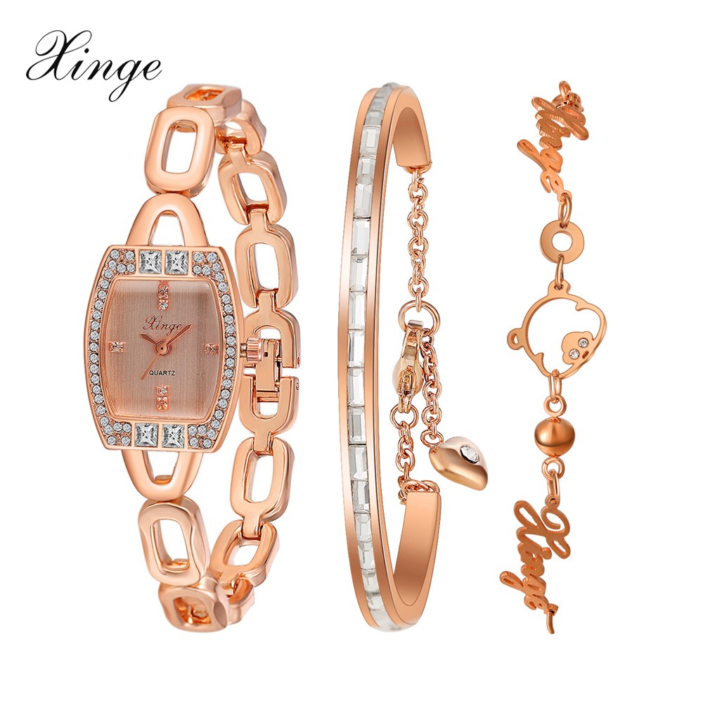 Xinge Brand Watch Women Luxury Pig Crystal Bracelet Waterproof Stainless Steel Wristwatch Set Fashion Electronic Quartz Watch xinge brand luxury crystal quartz watch women bracelet rhinestone jewelry watch set wristwatch waterproof women dress watches