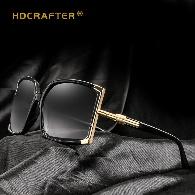 016526fc5afd4a 2018 HDCRAFTER Nouveau Carré lunettes de Soleil Femmes Grand Cadre lunettes  de Soleil Femmes Marque Designer