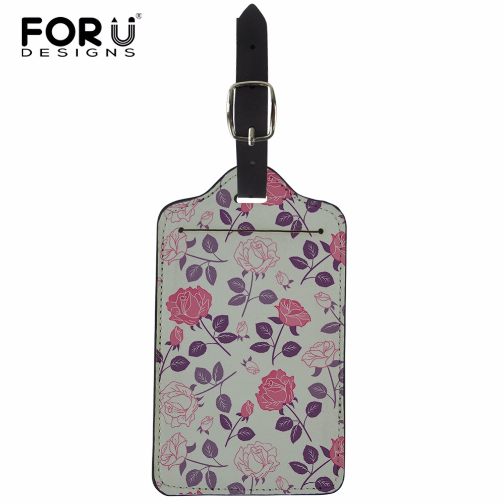 FORUDESIGNS Travel Suitcase ID Card Luggage Tag Suitcase Label Floral Printed Boarding Card Baggage Holder Travel Accessories