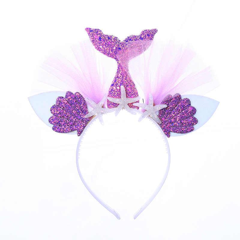 En liquidación estilo distintivo navegar por las últimas colecciones Arco Iris sirena diadema princesa malla hilo Shell flor Animal diademas aro  niños fiesta accesorios para el cabello
