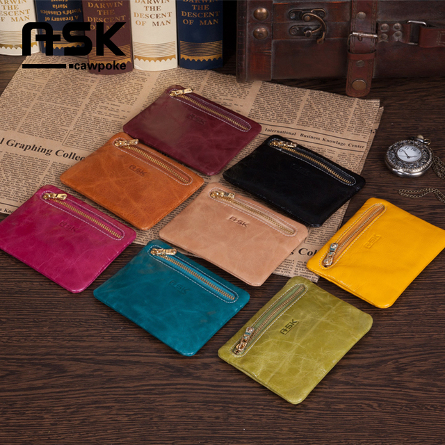 Ask small fresh oil waxing leather genuine leather cute coin small clutch gentlewomen fashion key wallet