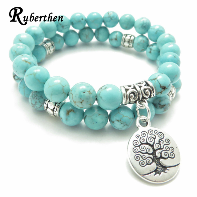 Ruberthen Tree of Life jewelry Yoga Mala Bracelet Stone Healing Protection Elastic Beaded Stacking Bracelet Spiritual jewelry 1