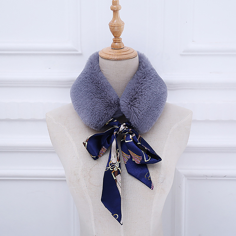 Faux Fur Scarf Women New Autumn Winter Warm Scarves Faux Rabbit Fur Flower Silk Ribbon Collar Wrap Scarves fur collar pure color