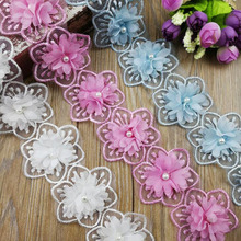 15Yards 3D Chiffon Flower Lace Fabric Floral With Pearl Wedding Decor Lace Applique Wedding Lace Trim DIY Craft floral lace yoke pearl detail top